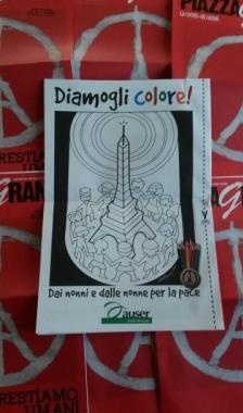 Un disegno da colorare per la pace. Il regalo dei nonni Auser nel nuovo numero di Piazza Grande