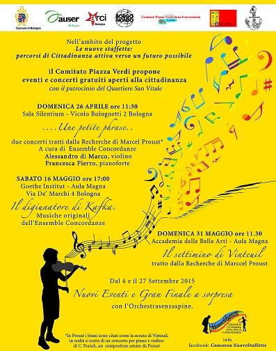 """A Bologna tre concerti gratuiti nell'ambito del progetto """"Le nuove staffette"""""""